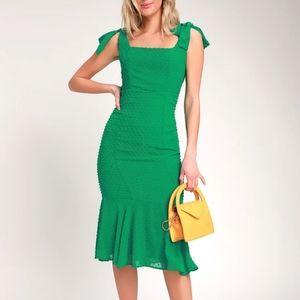 Lulu's Bimini Green Swiss Dot Tie-Strap Midi Dress